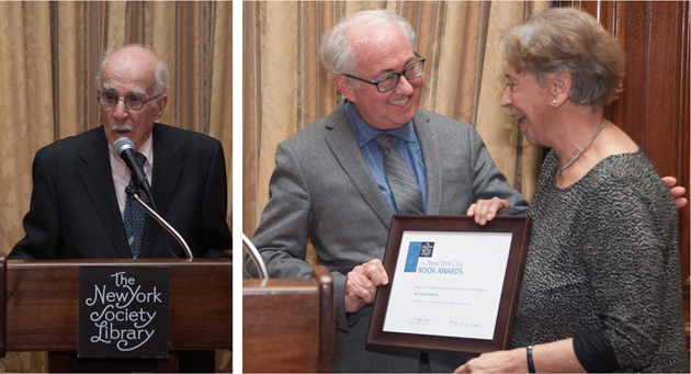 Special Citation recipients Roger Angell (left) and Vivian Gornick (right) with presenter James Atlas. Photos by Karen Smul.