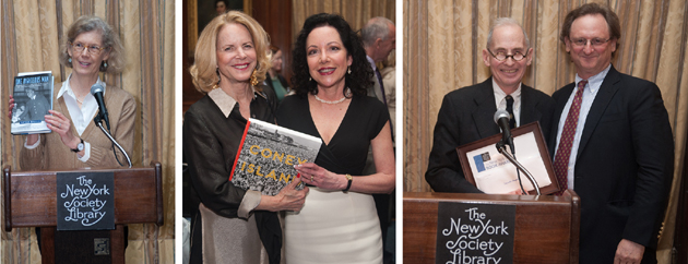 Jean Parker Phifer presents the award for ONE RIGHTEOUS MAN; presenter Ella Foshay with winner Robin Jaffee Frank; Warren Wechsler and winner Gerard Koeppel. Photos by Karen Smul.