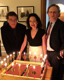 Winners Tom Glynn, Robin Jaffee Frank, and Gerard Koeppel with a cake celebrating the awards' 20th anniversary. Photo by Barnet Schecter.