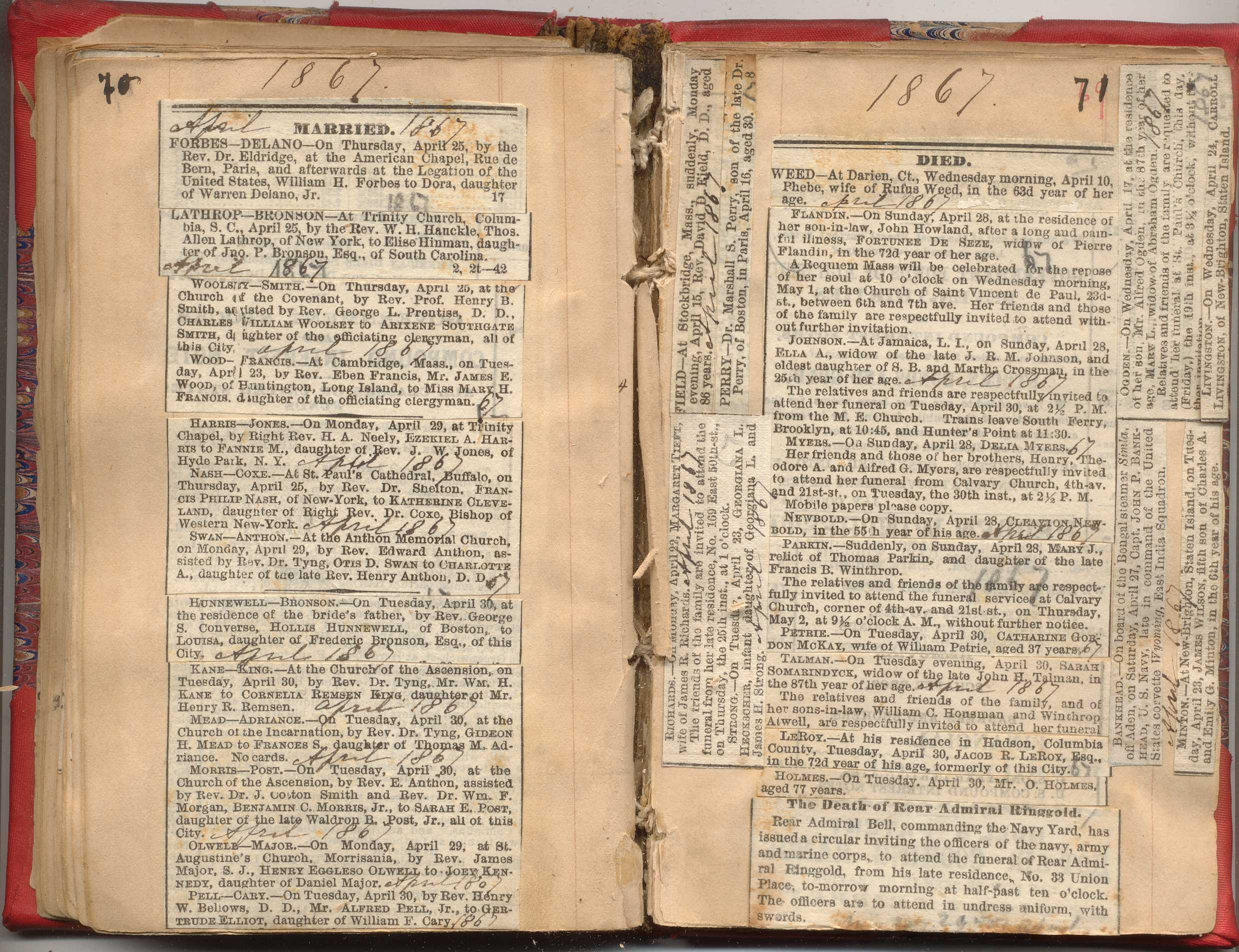 Our CollectionNYC Marriage & Death Notices 1857-1868