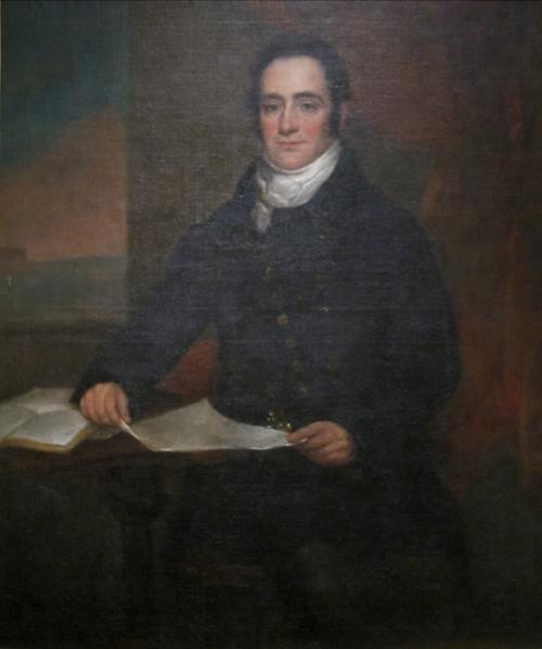 Early Library member Moses Judah, pictured with a book. Portrait by William Dunlap.